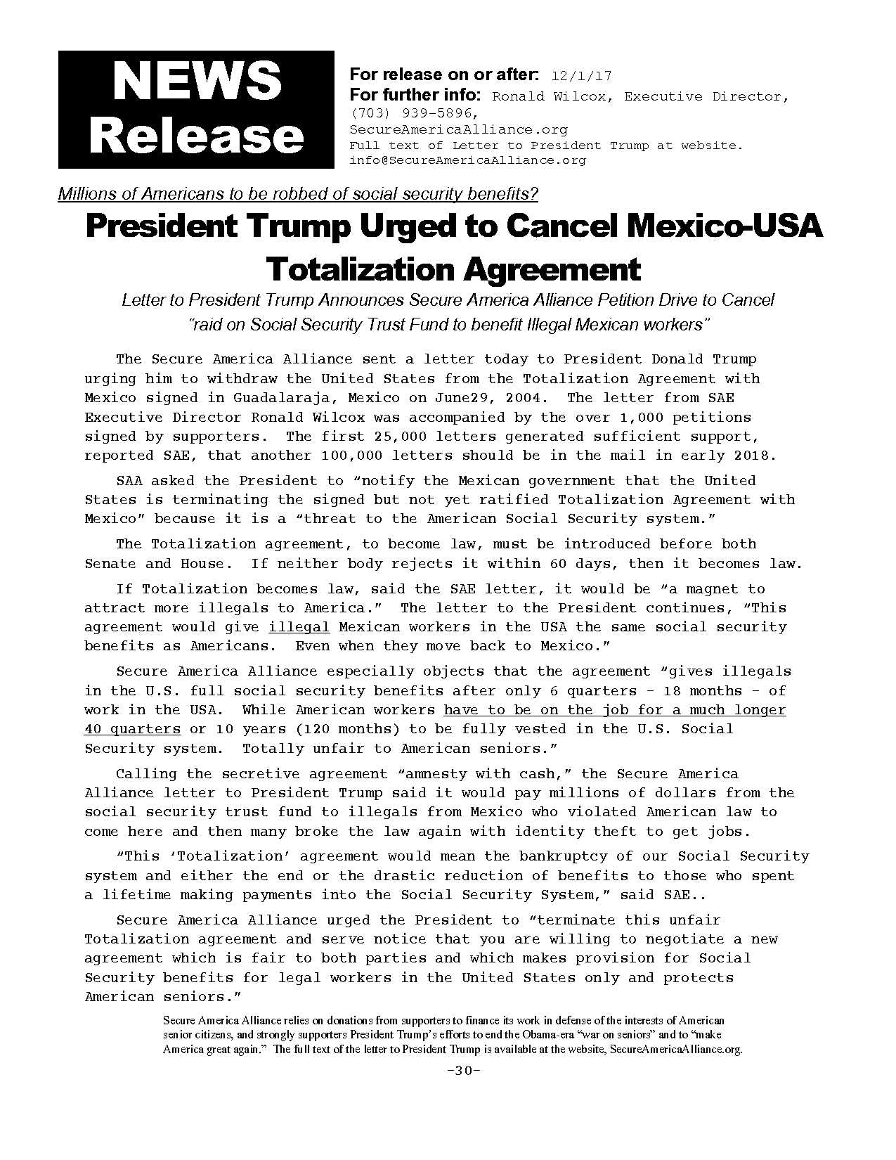 President Trump Urged To Cancel Mexico Usa Totalization Agreement